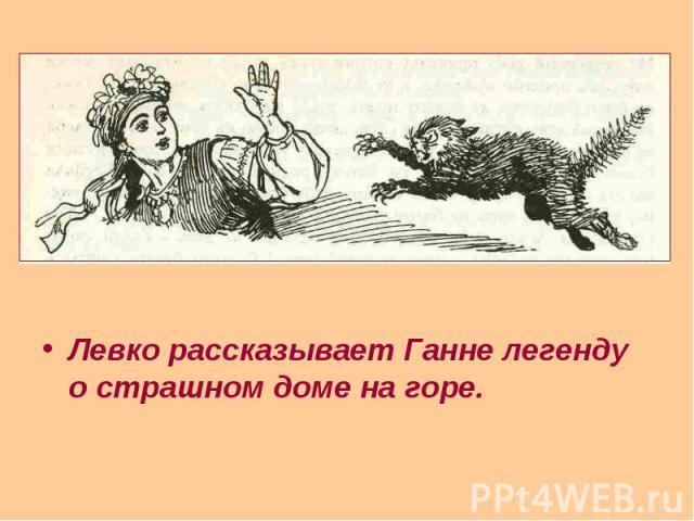 Левко рассказывает Ганне легенду о страшном доме на горе. Левко рассказывает Ганне легенду о страшном доме на горе.