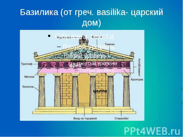 Базилика (от греч. вasilika- царский дом)