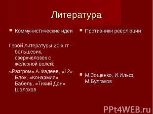 Литература Коммунистические идеи Герой литературы 20-х гг – большевик, сверхчело