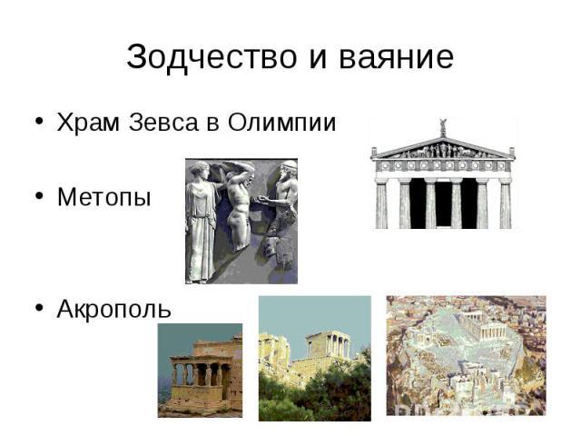Зодчество и ваяние Храм Зевса в Олимпии Метопы Акрополь