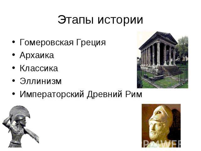 Этапы истории Гомеровская Греция Архаика Классика Эллинизм Императорский Древний Рим