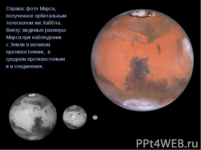 Справа: фото Марса, Справа: фото Марса, полученное орбитальным телескопом им.Хаббла. Внизу: видимые размеры Марса при наблюдении с Земли в великом противостоянии, в среднем противостоянии и в соединении.