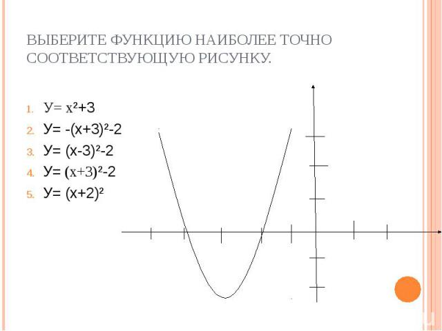 У= х²+3 У= х²+3 У= -(х+3)²-2 У= (х-3)²-2 У= (х+3)²-2 У= (х+2)²