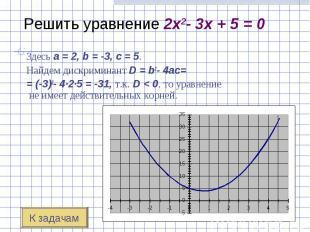 Здесь a=2, b=-3, c=5. Здесь a=2,