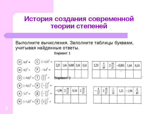 Выполните вычисления. Заполните таблицы буквами, учитывая найденные ответы. Выполните вычисления. Заполните таблицы буквами, учитывая найденные ответы. Вариант 1 Вариант 2