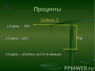Задача 3. Задача 3. 1-й день - 35% 2-й день – 33% ?га 3-й день – осталось на 0,6