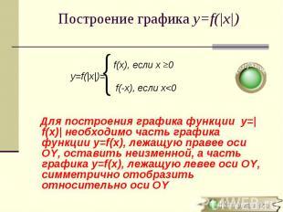 f(x), если х 0 y=f(|x|)= f(-x), если х<0 Для построения графика функции y=|f(