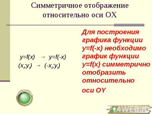 y=f(x) → y=f(-x) (x0;y0) → (-x0;y0)