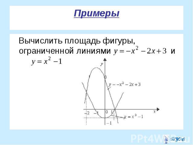 Вычислить площадь фигуры, ограниченной линиями и Вычислить площадь фигуры, ограниченной линиями и
