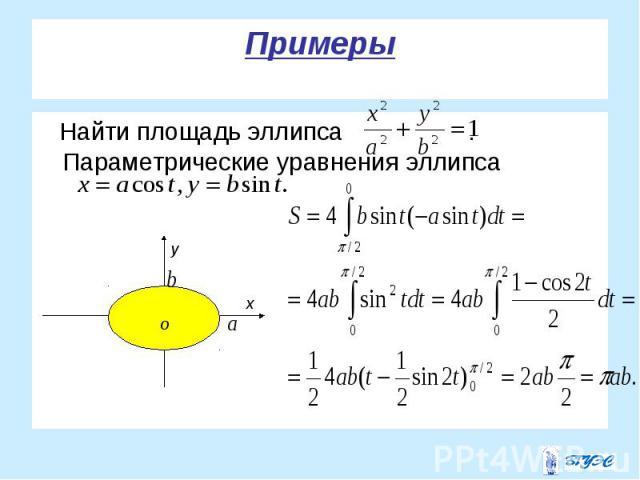 Найти площадь эллипса . Параметрические уравнения эллипса Найти площадь эллипса . Параметрические уравнения эллипса