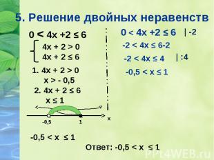 0 < 4х +2 ≤ 6 0 < 4х +2 ≤ 6