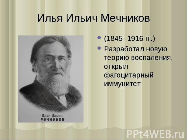 (1845- 1916 гг.) (1845- 1916 гг.) Разработал новую теорию воспаления, открыл фагоцитарный иммунитет