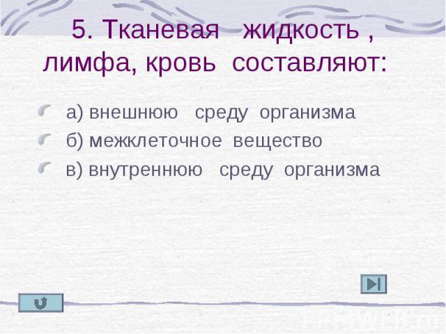 а) внешнюю среду организма а) внешнюю среду организма б) межклеточное вещество в) внутреннюю среду организма