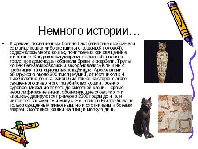 В храмах, посвященных богине Баст (египтяне изображали ее в виде кошки либо женщины с кошачьей головой), содержалось много кошек, почитаемых как священные животные. Когда кошка умирала, в семье объявлялся траур, все домочадцы сбривали брови и скорбе…