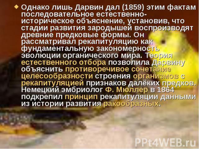 Однако лишь Дарвин дал (1859) этим фактам последовательное естественно-историческое объяснение, установив, что стадии развития зародышей воспроизводят древние предковые формы. Он рассматривал рекапитуляцию как фундаментальную закономерность эволюции…