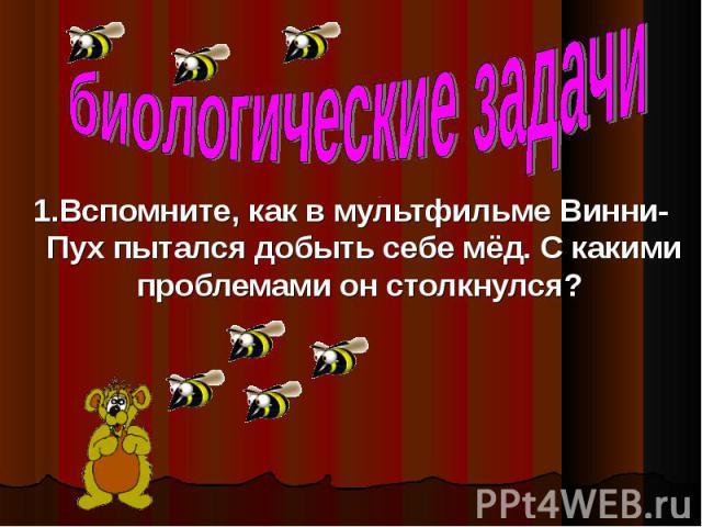 1.Вспомните, как в мультфильме Винни- Пух пытался добыть себе мёд. С какими проблемами он столкнулся?