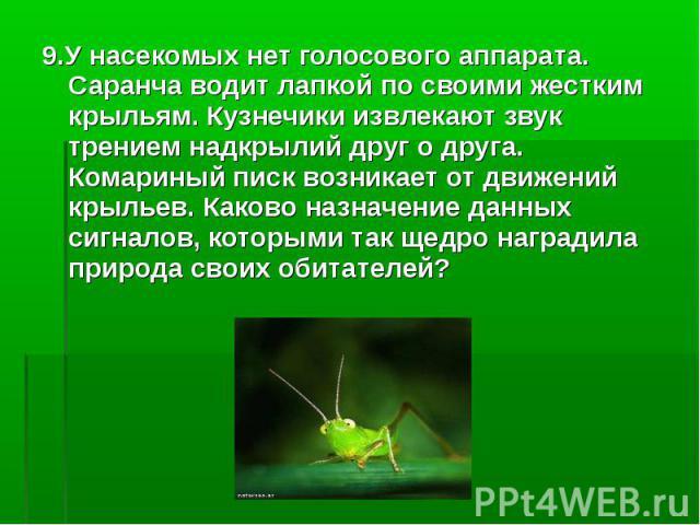 9.У насекомых нет голосового аппарата. Саранча водит лапкой по своими жестким крыльям. Кузнечики извлекают звук трением надкрылий друг о друга. Комариный писк возникает от движений крыльев. Каково назначение данных сигналов, которыми так щедро награ…
