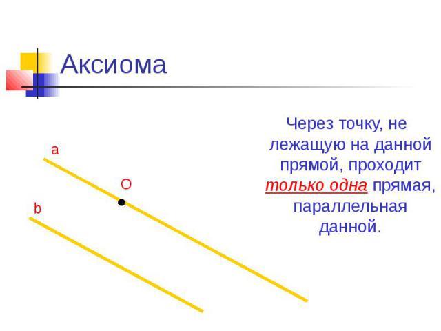 Аксиома Через точку, не лежащую на данной прямой, проходит только одна прямая, параллельная данной.