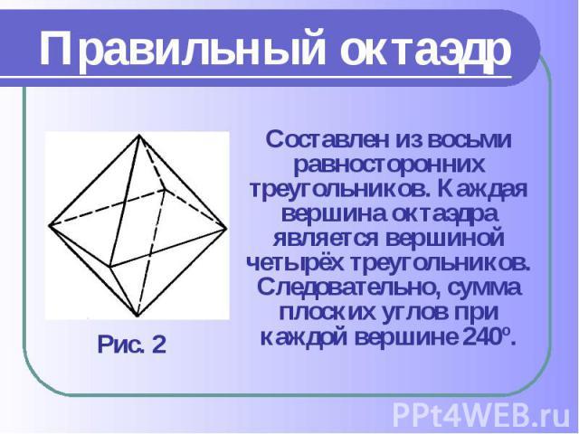 Составлен из восьми равносторонних треугольников. Каждая вершина октаэдра является вершиной четырёх треугольников. Следовательно, сумма плоских углов при каждой вершине 240º. Составлен из восьми равносторонних треугольников. Каждая вершина октаэдра …