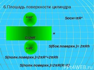 6.Плошадь поверхности цилиндра 6.Плошадь поверхности цилиндра