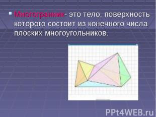 Многогранник- это тело, поверхность которого состоит из конечного числа плоских