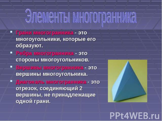 Грани многогранника - это многоугольники, которые его образуют. Грани многогранника - это многоугольники, которые его образуют. Ребра многогранника - это стороны многоугольников. Вершины многогранника - это вершины многоугольника. Диагональ многогра…