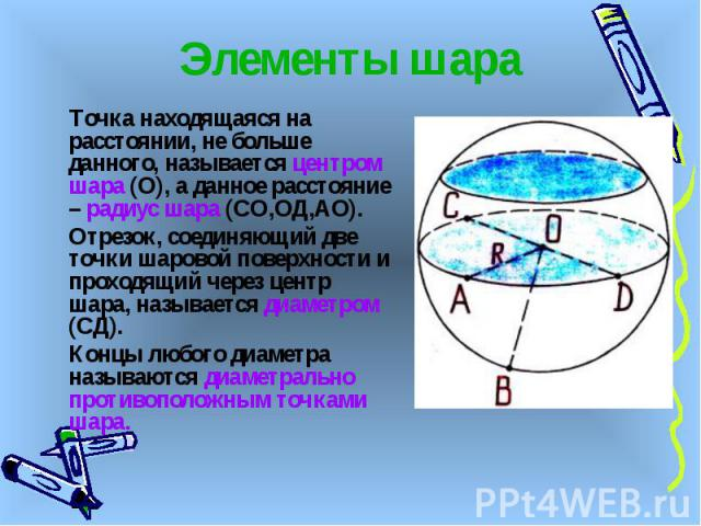 Элементы шара Точка находящаяся на расстоянии, не больше данного, называется центром шара (О), а данное расстояние – радиус шара (СО,ОД,АО). Отрезок, соединяющий две точки шаровой поверхности и проходящий через центр шара, называется диаметром (СД).…