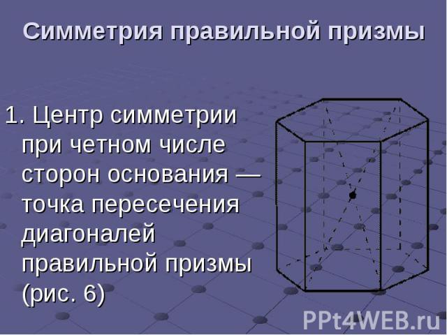 Симметрия правильной призмы 1.Центр симметрии при четном числе сторон основания— точка пересечения диагоналей правильной призмы (рис.6)