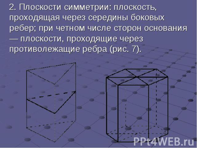 2.Плоскости симметрии: плоскость, проходящая через середины боковых ребер; при четном числе стороноснования — плоскости, проходящие через противолежащие ребра (рис.7). 2.Плоскости симметрии: плоскость, проходящая …