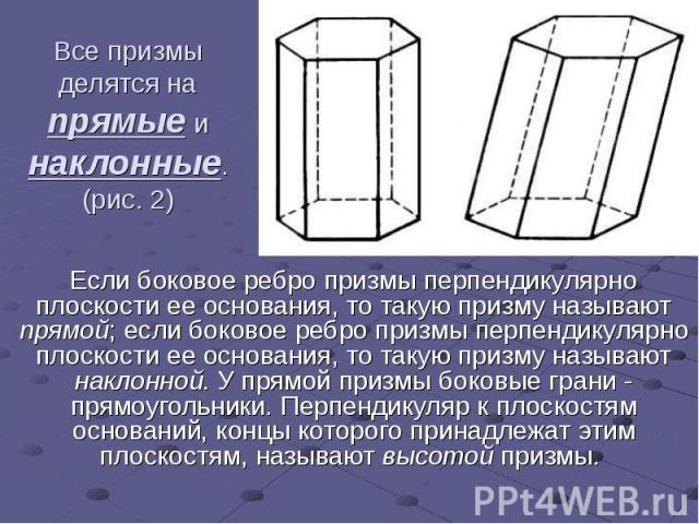 Все призмы делятся на прямые и наклонные. (рис. 2) Если боковое ребро призмы перпендикулярно плоскости ее основания, то такую призму называют прямой; если боковое ребро призмы перпендикулярно плоскости ее основания, то такую призму называют наклонно…