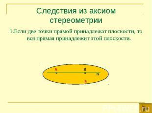 1.Если две точки прямой принадлежат плоскости, то вся прямая принадлежит этой пл