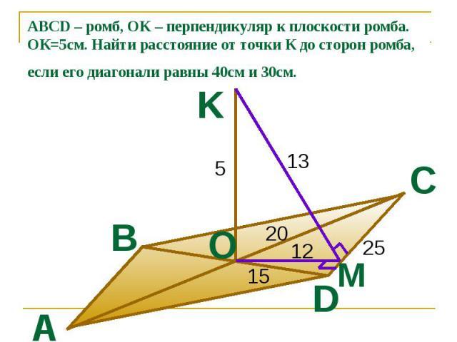 ABCD – ромб, OK – перпендикуляр к плоскости ромба. ОК=5см. Найти расстояние от точки К до сторон ромба, если его диагонали равны 40см и 30см.
