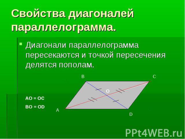 Диагонали параллелограмма пересекаются и точкой пересечения делятся пополам. Диагонали параллелограмма пересекаются и точкой пересечения делятся пополам.