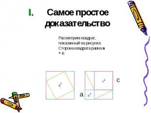 Самое простое доказательство Рассмотрим квадрат, показанный на рисунке. Сторона