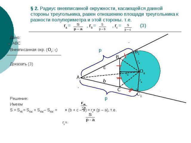 § 2. Радиус вневписанной окружности, касающейся данной стороны треугольника, равен отношению площади треугольника к разности полупериметра и этой стороны. т.е. ra = , rb = , rc = (3) Дано: АВС Вневписанная окр. (Оа ; ra) Доказать (3) Решение: Имеем …