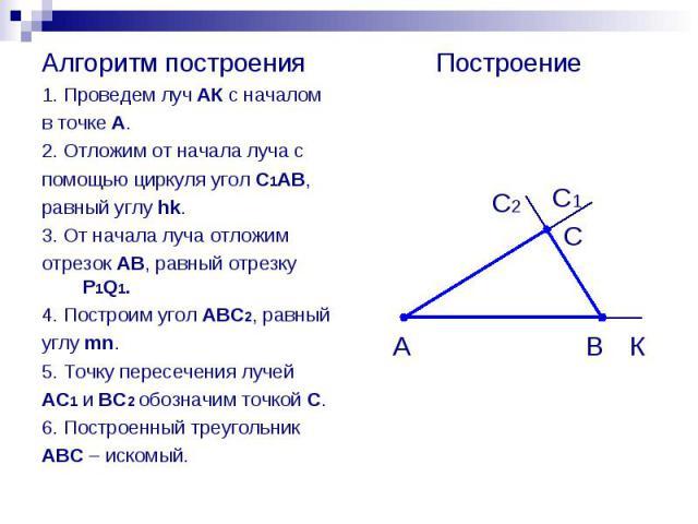 Алгоритм построения Алгоритм построения 1. Проведем луч АК с началом в точке А. 2. Отложим от начала луча с помощью циркуля угол С1АВ, равный углу hk. 3. От начала луча отложим отрезок АВ, равный отрезку P1Q1. 4. Построим угол АВС2, равный углу mn. …