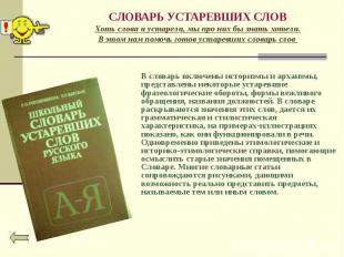 В словарь включены историзмы и архаизмы, представлены некоторые устаревшие фразе