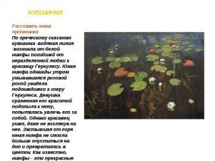 Расставить знаки препинания По греческому сказанию кувшинка -водяная лилия -возн