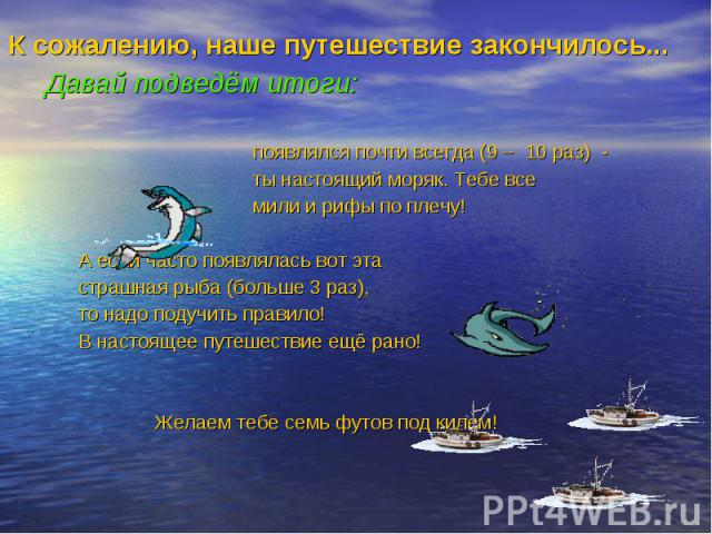 К сожалению, наше путешествие закончилось... К сожалению, наше путешествие закончилось... Давай подведём итоги: появлялся почти всегда (9 – 10 раз) - ты настоящий моряк. Тебе все мили и рифы по плечу! А если часто появлялась вот эта страшная рыба (б…