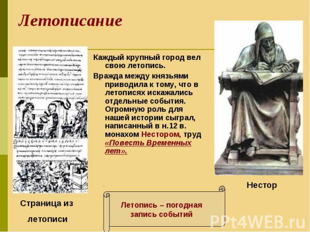 Каждый крупный город вел свою летопись. Каждый крупный город вел свою летопись. Вражда между князьями приводила к тому, что в летописях искажались отдельные события. Огромную роль для нашей истории сыграл, написанный в н.12 в. монахом Нестором, труд…