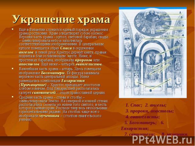 Украшение храма Ещё в Византии сложился единый порядок украшения храма росписями. Храм олицетворял собою космос. Верхняя часть храма – купол, световой барабан, своды – символизировала небо и заполнялась соответствующими изображениями. В центральном …