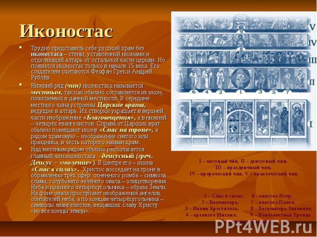 Иконостас Трудно представить себе русский храм без иконостаса – стены, уставленной иконами и отделяющей алтарь от остальной части церкви. Но появился иконостас только в начале 15 века. Его создателем считаются Феофан Грек и Андрей Рублёв. Нижний ряд…