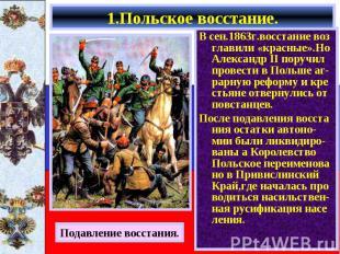 В сен.1863г.восстание воз главили «красные».Но Александр II поручил провести в П