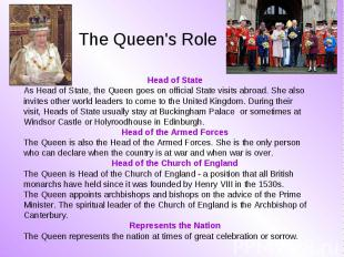 Head of State Head of State As Head of State, the Queen goes on official State v