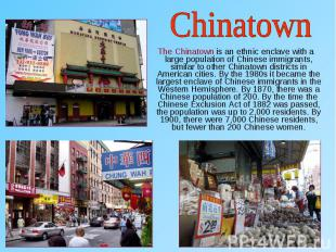 The Chinatown is an ethnic enclave with a large population of Chinese immigrants