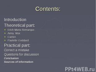 Introduction Introduction Theoretical part: Erich Maria Remarque. Army. War. Car