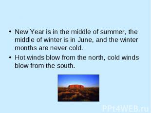 New Year is in the middle of summer, the middle of winter is in June, and the wi