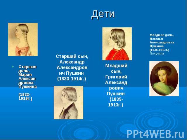 Старшая дочь, Мария Александровна Пушкина (1832-1919г.) Старшая дочь, Мария Александровна Пушкина (1832-1919г.)