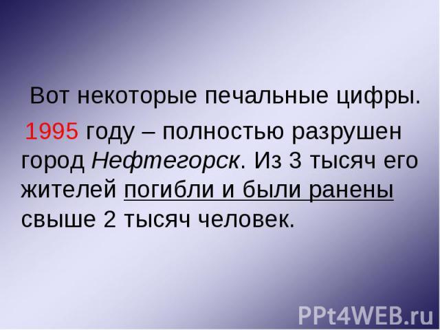 Вот некоторые печальные цифры. Вот некоторые печальные цифры. 1995 году – полностью разрушен город Нефтегорск. Из 3 тысяч его жителей погибли и были ранены свыше 2 тысяч человек.