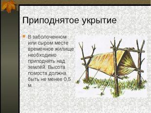 В заболоченном или сыром месте временное жилище необходимо приподнять над землёй